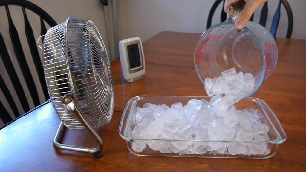 cool off the room with ice and a fan preppingplanet.com